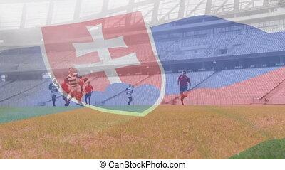 onduler, multi-ethnique, drapeau, slovakian, sur, équipes, jouer, deux, animation, rugby