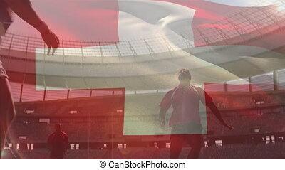 onduler, multi-ethnique, drapeau, suisse, sur, équipes, jouer, deux, animation, rugby