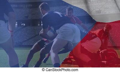 onduler, multi-ethnique, drapeau, sur, équipes, jouer, tchèque, animation, rugby, deux