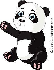 onduler, panda, dessin animé, main