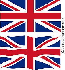 onduler, plat, vecteur, britannique, flag.