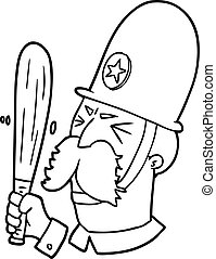 onduler, policier, dessin animé, bâton