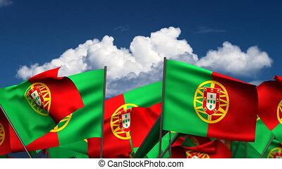 onduler, portugais, drapeaux