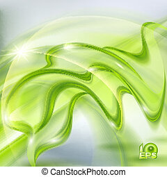 onduler, résumé, arrière-plan vert