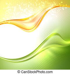 onduler, résumé, arrière-plan vert, jaune