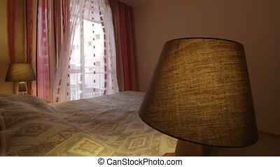 onduler, rideaux, chambre hôtel, chambre à coucher