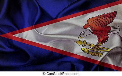 onduler, samoa, américain, grunge, drapeau