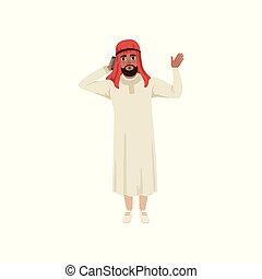 onduler, sien, main, musulman, caractère, illustration, traditionnel, conversation, vecteur, fond, pone, homme affaires, blanc, habillement, arabe, homme