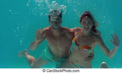 onduler, sous-marin, couple, appareil photo