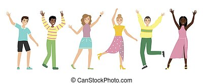 onduler, sur, groupe, gens, réussi, positif, hommes, isolé, saut, arrière-plan., teamwork., happiness., mains, blanc, femmes heureuses