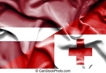 onduler, tonga, drapeau lettonie