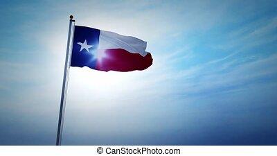 onduler, usa, texan, représente, amérique, -, état, 4k, drapeau, texas