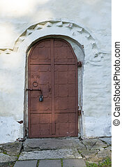 one, 1 metal door, deadbolt lock, entrance, exit, white wall