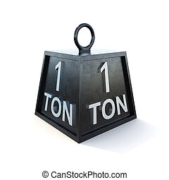 One 1 ton weight isolated on white background. 3d rendering