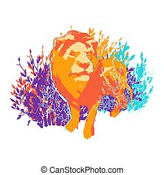 One abstract male lion standing among the bushes.