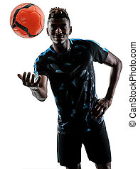 one african soccer player man isolated white background...