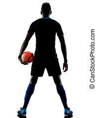 one african soccer player man isolated white background silhouet