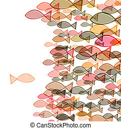 one against many - one fish swimming in the opposite...