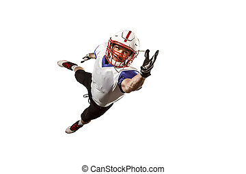 one american football player man studio isolated on white background