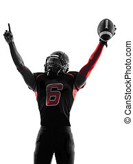 one american football player portrait celebrating touchdown...