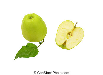 One and a half green apples