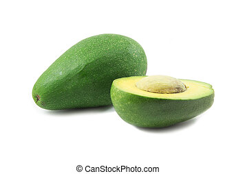 One and half avocado on white background