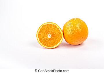 one and half orange isolated
