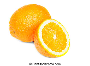 One and half oranges isolated on white