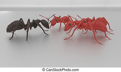 one ant against many 3d render