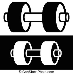 One arm barbell weight symbol with 2 plates. Barbell clip-art for bodybuilding, weight lifting, exercise theme