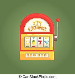 One-Armed Bandit Slot Machine, Gambling And Casino Night Club Related Cartoon Illustration