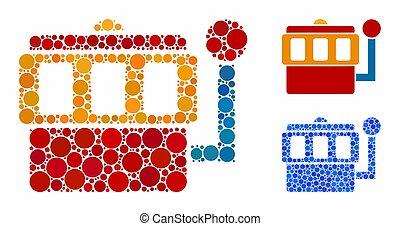 one-armed, ikona, koło, kropkuje, skład, bandyta