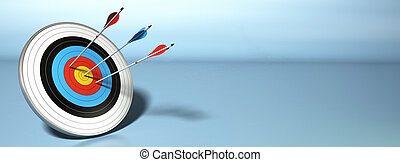 one arrow hitting the center of a target, two red ones...
