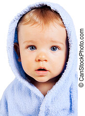 One baby child with blue eyes isolated on white