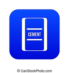 One bag of cement icon digital blue