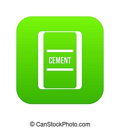 One bag of cement icon digital green