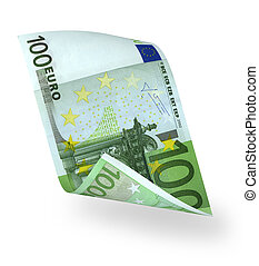 banknote 100 euro - one banknote 100 euro isolated on white