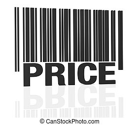 one bar code with the word: price, instead of numbers (3d render)