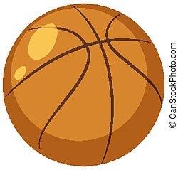 One basketball on white background