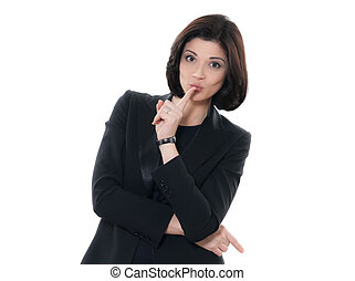 beautiful hushing caucasian woman portrait