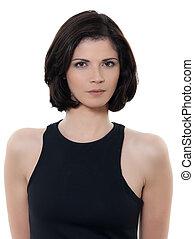 beautiful serious caucasian woman portrait
