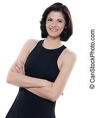beautiful smiling caucasian woman portrait arms crossed