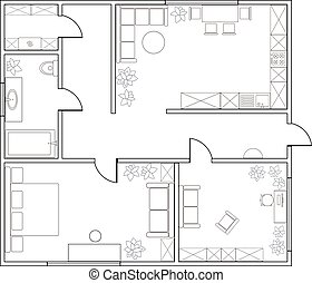 one-bedroom, astratto, appartamento, piano, vettore