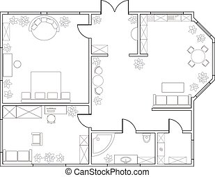 one-bedroom, résumé, appartement, plan, vecteur