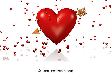 One Big and Red Heart with Golden Arrow and Lots of Tiny Hearts