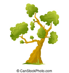 One big cartoon tree