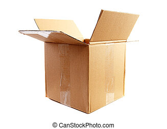 cardboard box - one big empty cardboard box over white ...