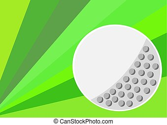 One big golf ball with green color background