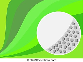 One big golf ball with green color background waves