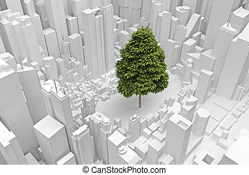 one big tree in an abstract city